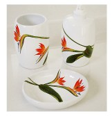 Bird of Paradise hand painted ceramic bath accessories