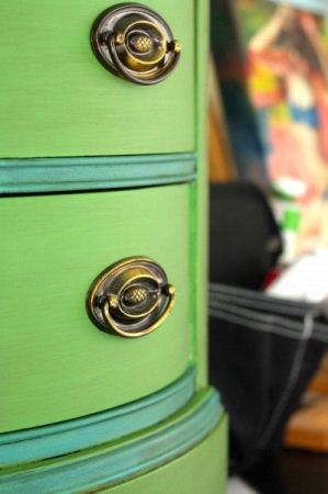 Annie Sloan's chalk paint Antibes Green and Provence teal blue from Playing Sublimely