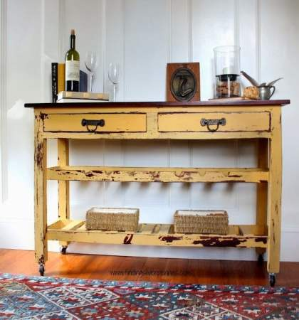 Mustard_Seed_wine_table finding liver pennies - How To Antique Furniture - DIY Antiquing Furniture -Decorated Life