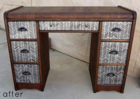 black and silver herringbone desk