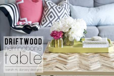 driftwood herringbone table