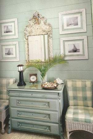 blue walls with pale blue check pattern chairs