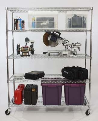 Five+Tier+NSF+Extra+Large+Commercial+Grade+Shelving+Rack+in+Chrome