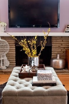 ottoman coffee table trays and styling