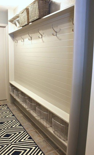 hallway converted to a mudroom