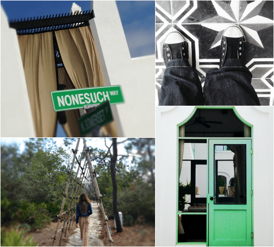 Nonesuch Way, feet, Jane under a trellis, Green Door