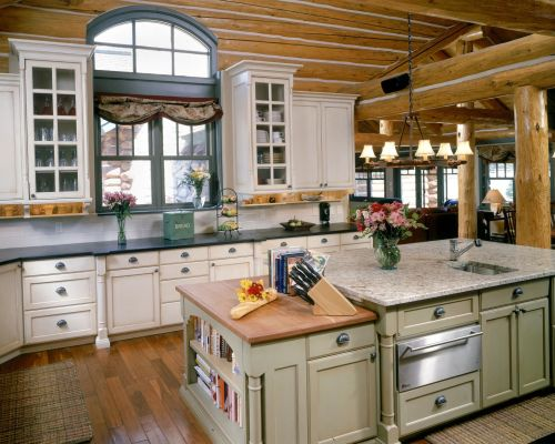 green and whtite country kitchen