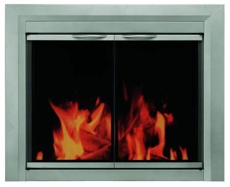 glass fire place doors - DIY Fake Fireplace, Fireplace Glass Doors, Mantels + More