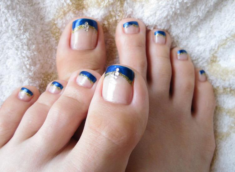 diseños de uñas para pies facil