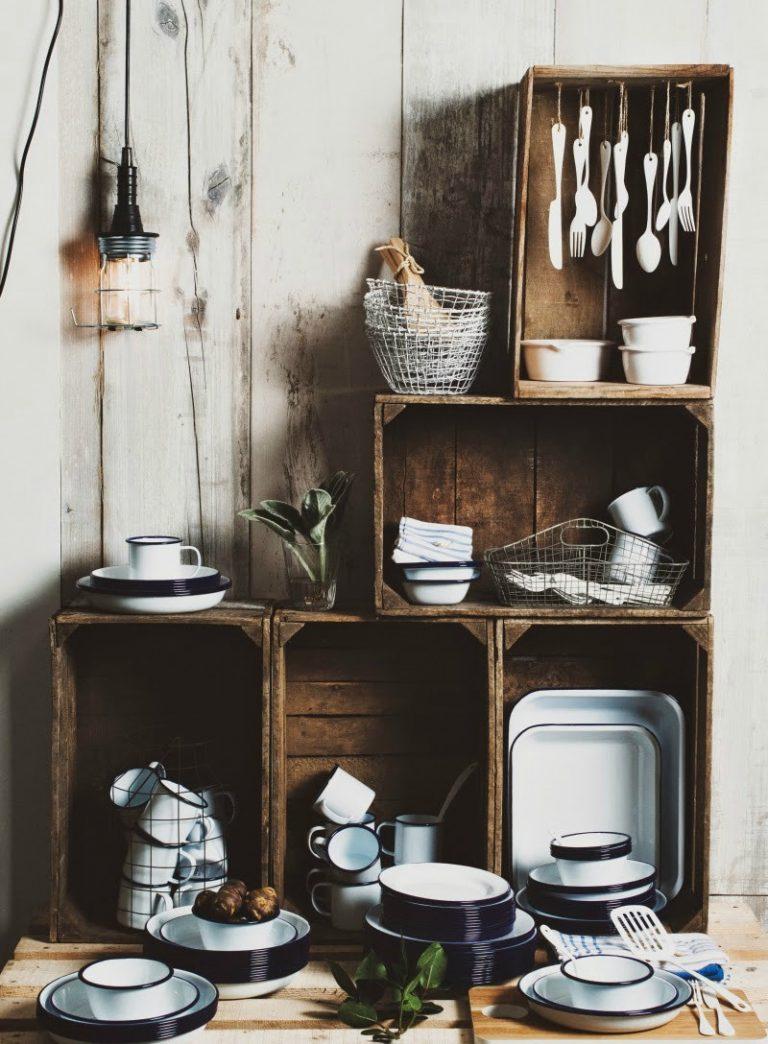 fall kitchen decor gray backsplash 15+ wooden crates in kitchen: a brilliant idea to add ...