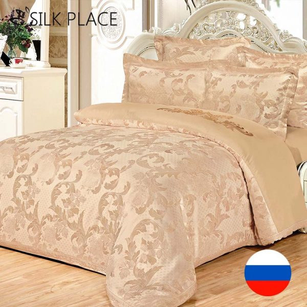 average size of kitchen sink outdoor lowes brand luxury jacquard bed linen satin 4pcs 100%cotton ...