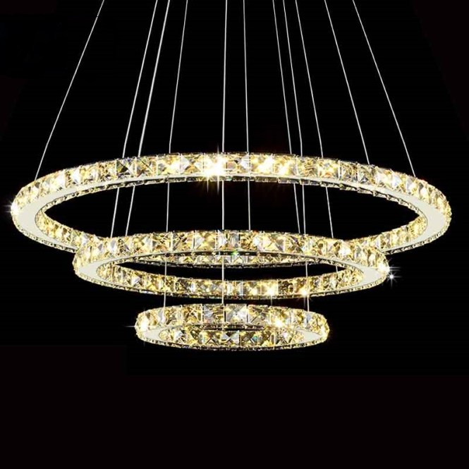Modern Led Diamond Ring Font B Chandeliers Chrome Mirror Finish Stainless Steel Room Hanging