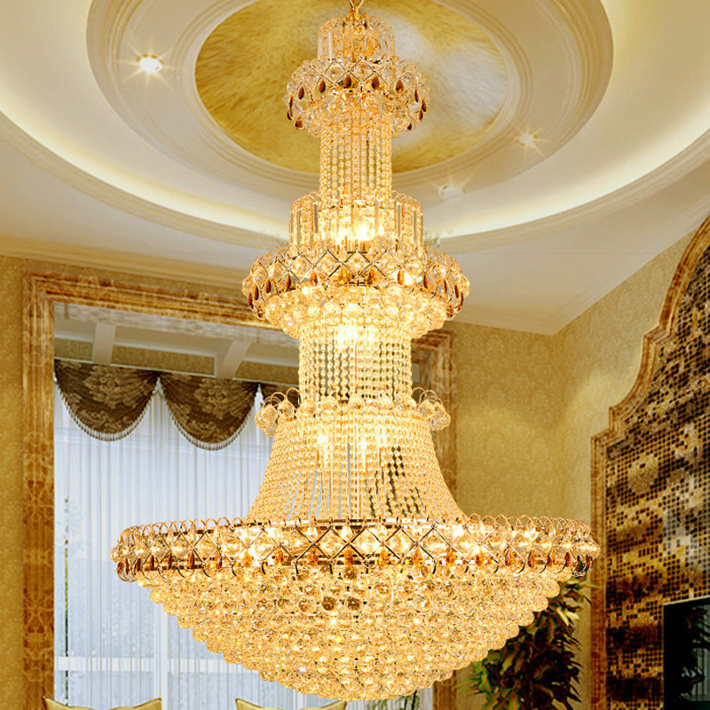 Modern Luxury Europe Large Gold Luster K9 LED Crystal Chandelier Light Fixture Classic Lamp