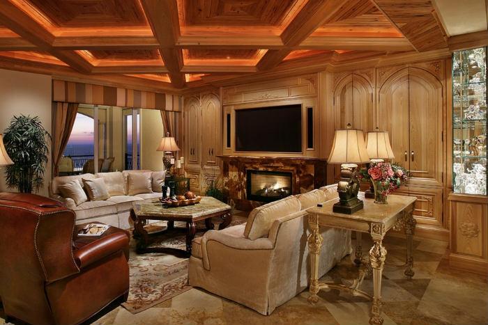 ταβάνι με κρυφό φωτισμό και 3 επιτραπέζια φωτιστικά