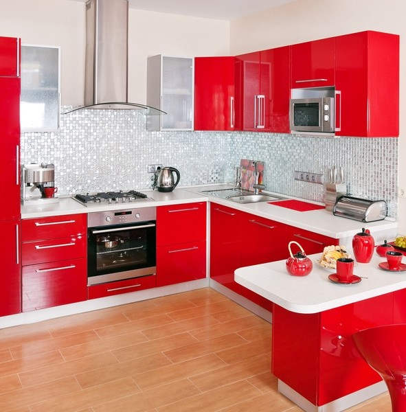Affordable Cuisine Rouge Decoration De Cuisine Style Campagne Rouge Et Blanc Deco With Credence