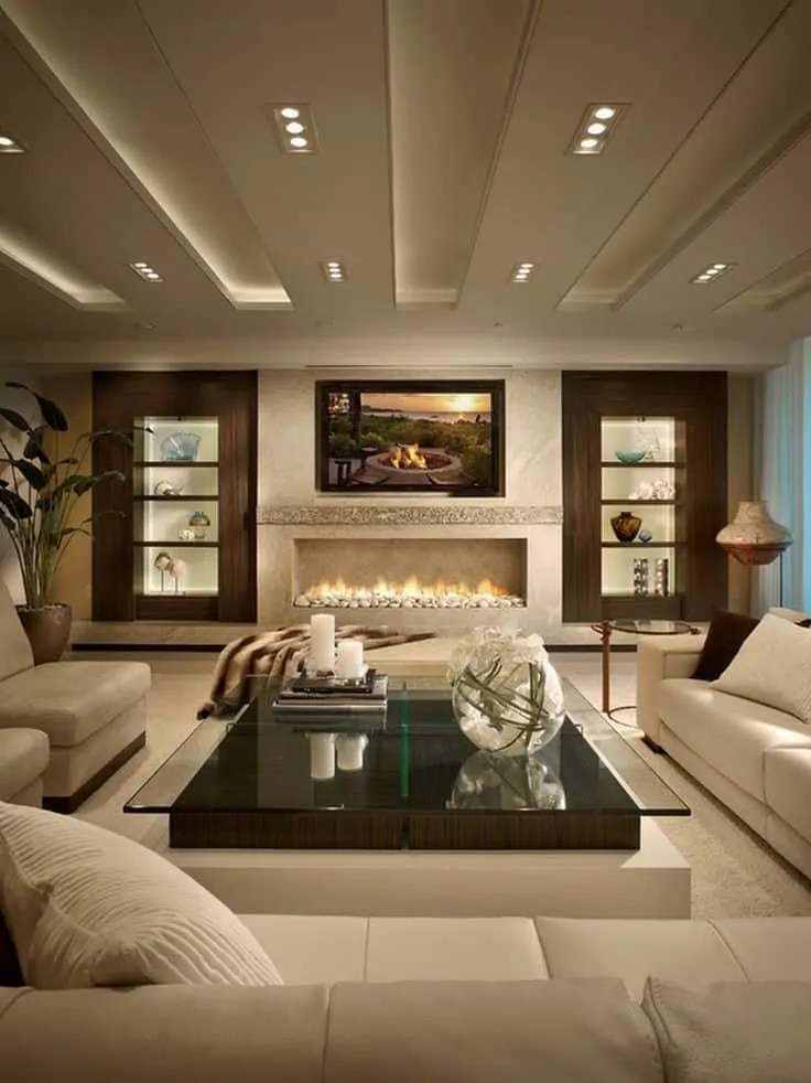 living room fireplace and tv interior design yellow black grey 25 modern ideas decoration channel