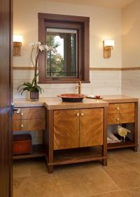 Craftsman Bathroom With Wooden Cabinets