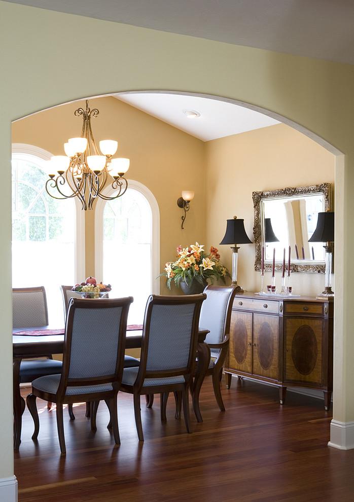 Beautiful Golden Mediterranean Dining Room Design
