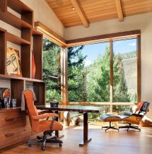 Mountain Rustic Home Office Design