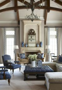 Navy Blue and White Traditional Living Room Design