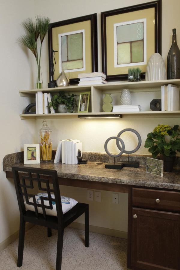 Southwestern Home Office Design With wall art