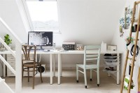 White Shabby-Chic Style Home Office Design