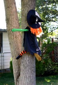 Halloween Decorations Witch Flying into Tree