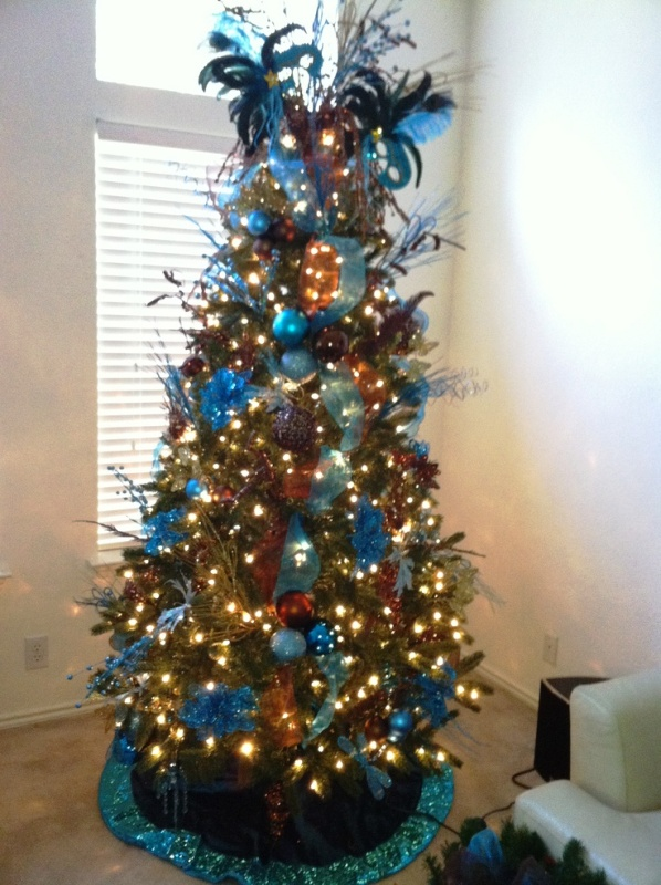 Brown And Turquoise Christmas Tree