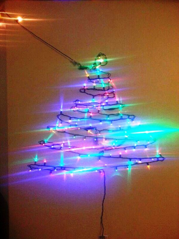 Christmas Light Tree On Wall