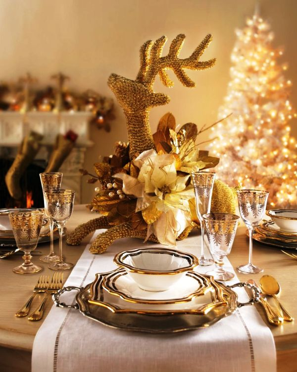Gold Christmas Table Decoration Centerpieces With Light