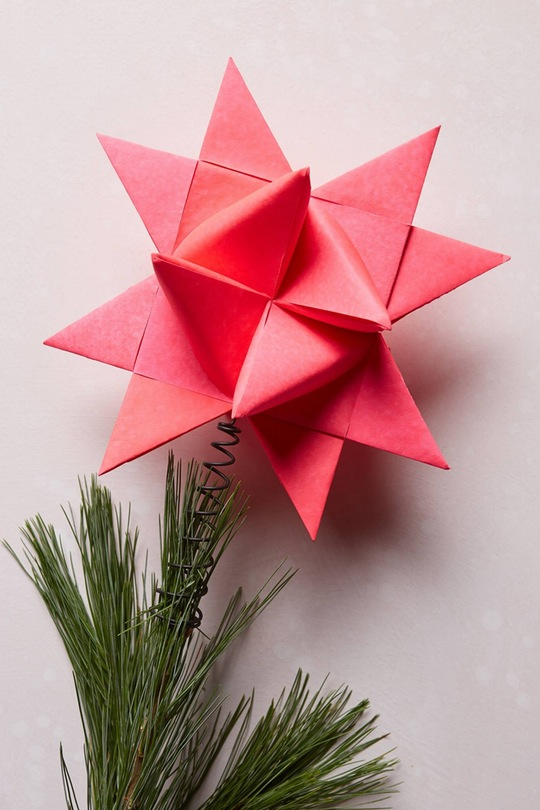 inexpensive kitchen decor pos display system origami-christmas-star-tree-topper