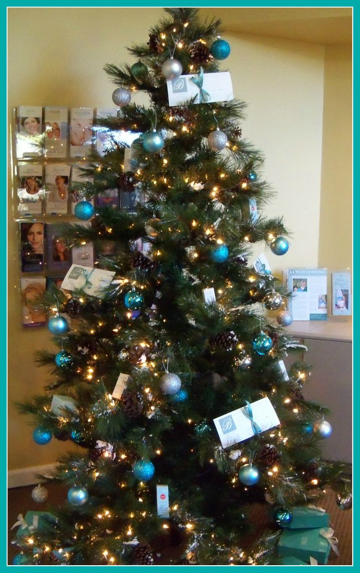 Teal And Silver Christmas Tree Ornaments