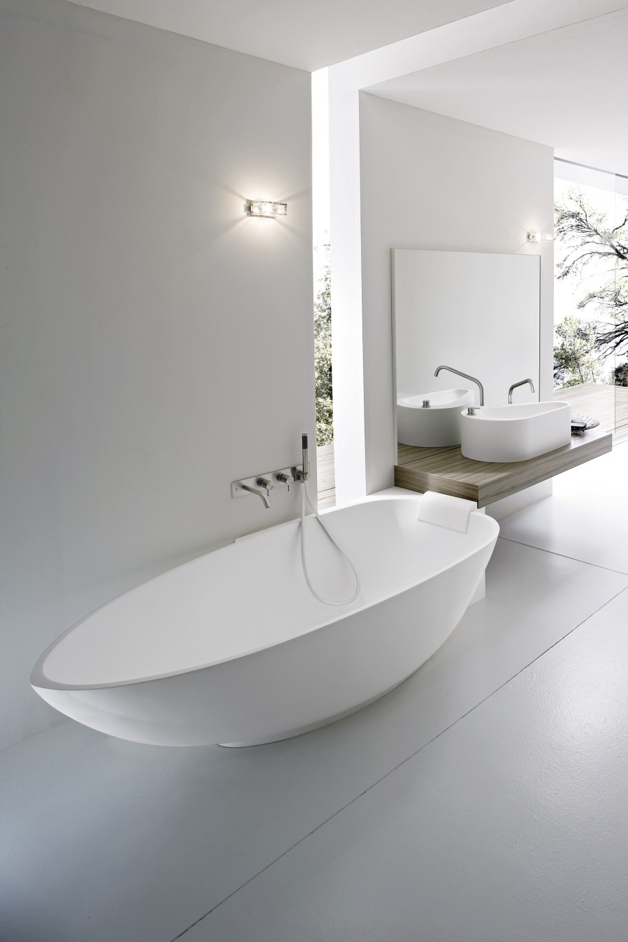 Interior Of Modern Bathroom And Soaking Tub