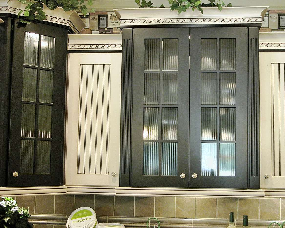 kitchen cabinet glass doors space saver design decorative solutions - custom stained & ...