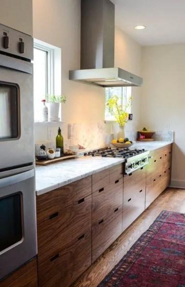 Modern Walnut Kitchen Cabinets Design Ideas 34