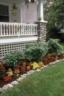 Coleus Garden Next To House Porch And Lawn