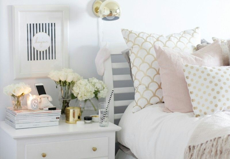 Pink White And Gold Bedroom 12