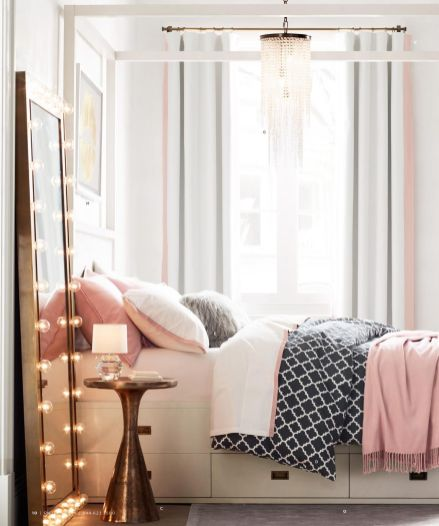 Pink White And Gold Bedroom 14