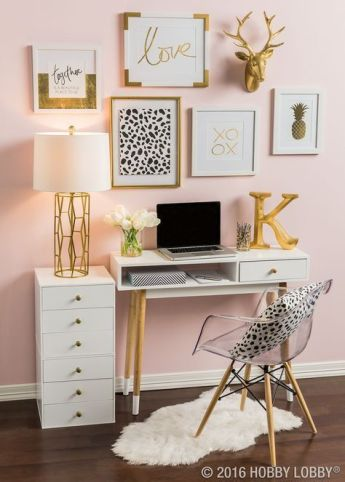 Pink White And Gold Bedroom 2