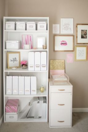 Pink White And Gold Bedroom 22