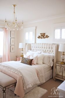 Pink White And Gold Bedroom 58
