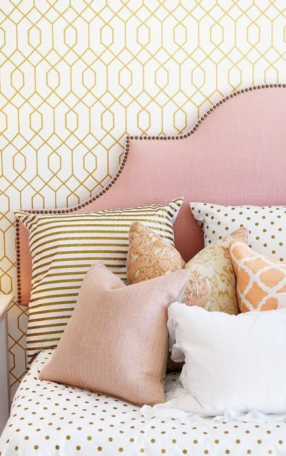 Pink White And Gold Bedroom 73