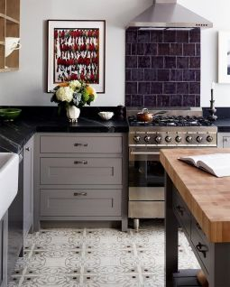 Gray Cabinets Black Countertops 1