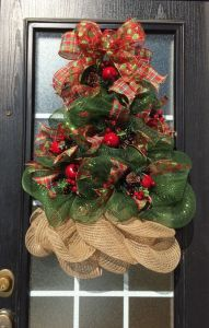 Burlap Christmas Tree Wreath 12