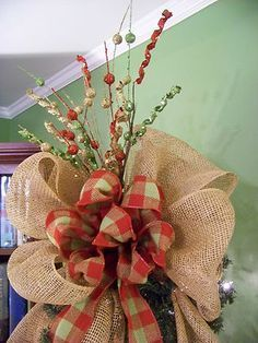 Burlap Christmas Tree Wreath 6