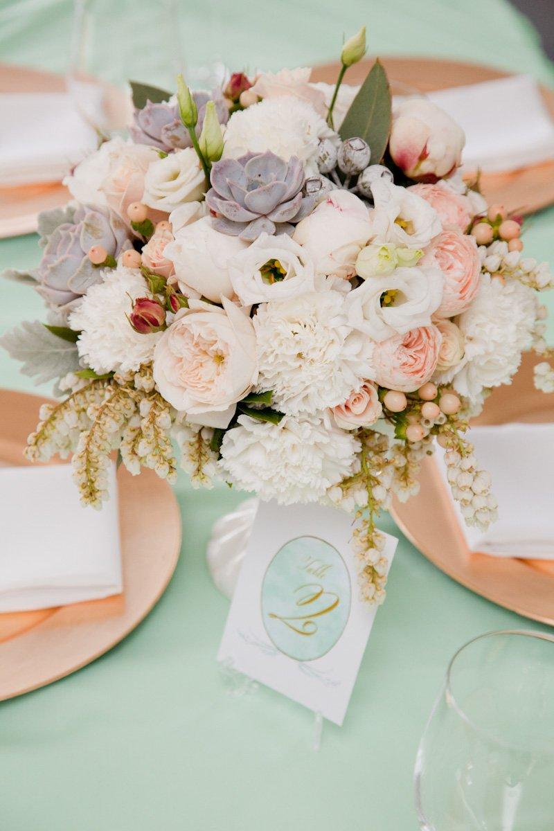 Splash Of Green Over Place Cards