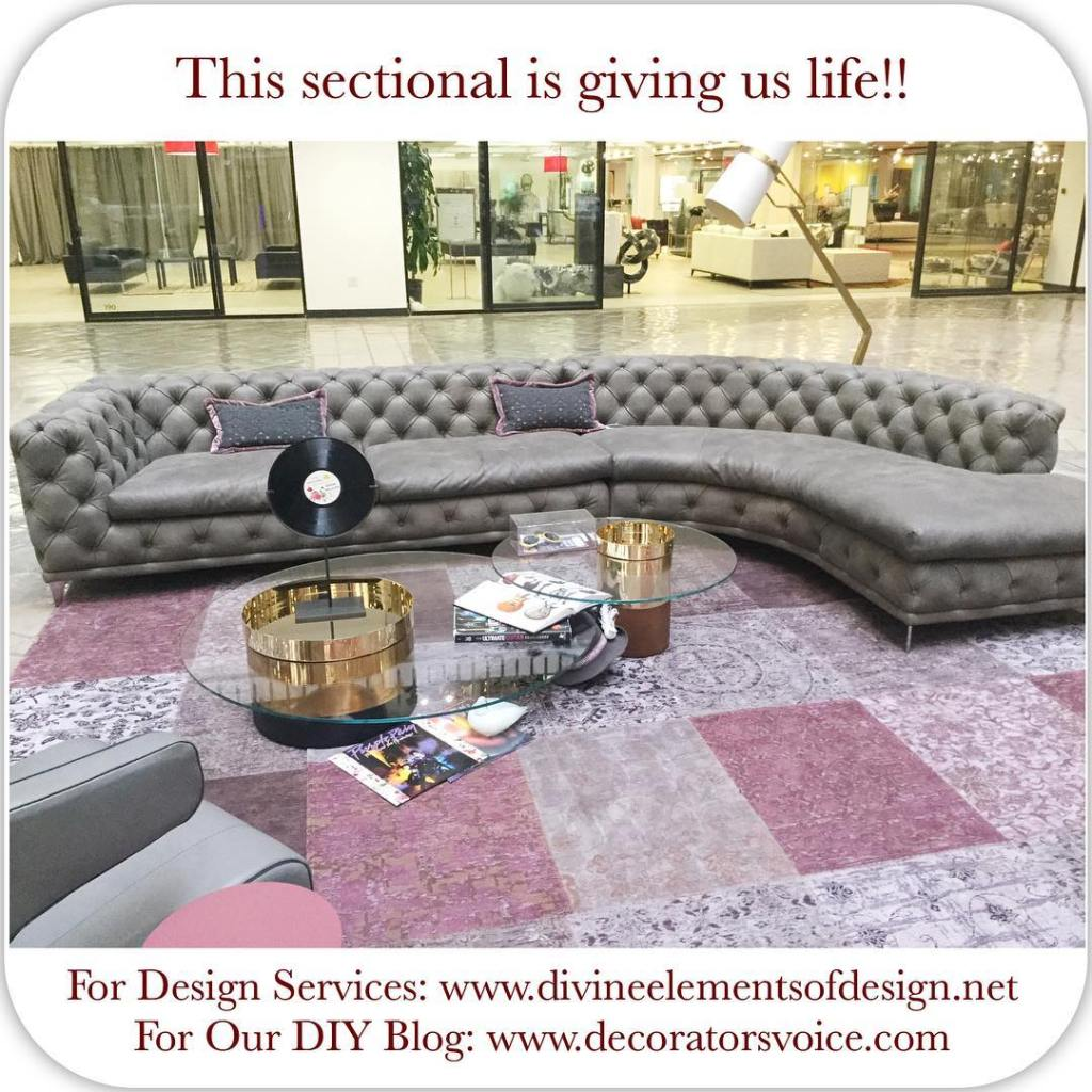 We love this gray tufted sectional on display at thehellip