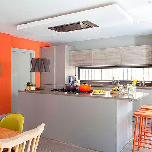 Cocina naranja y gris una decoracin moderna alegre y
