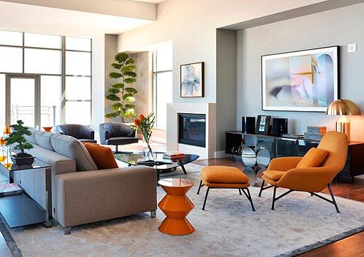 Saln en gris y naranja una propuesta decorativa moderna