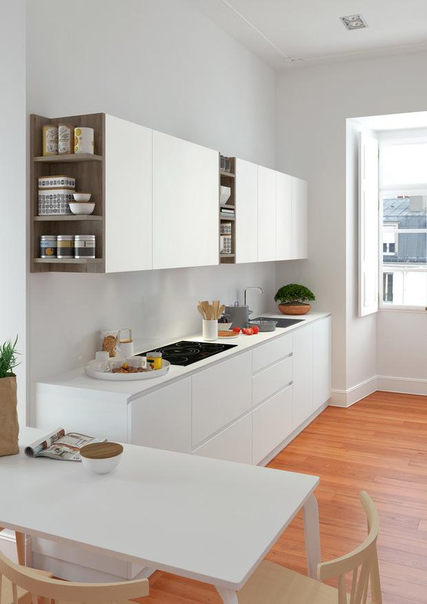 Cocina blanca con detalles de madera